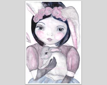 watercolour girl and bunny art print