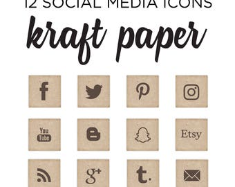 Social Media Icon set - Simple Blog buttons - Kraft Paper pattern social media icons - INSTANT DOWNLOAD