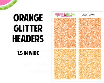 ORANGE Glitter Headers Labels   Tiny Bites Stickers   28 Kiss-Cut Stickers   White Space, Functional Planning   GH025