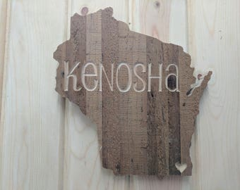 Personalized Wisconsin State Sign, Reclaimed Wooden Sign, Wisconsin,  Wisconsin Sign, Reclaimed Sign