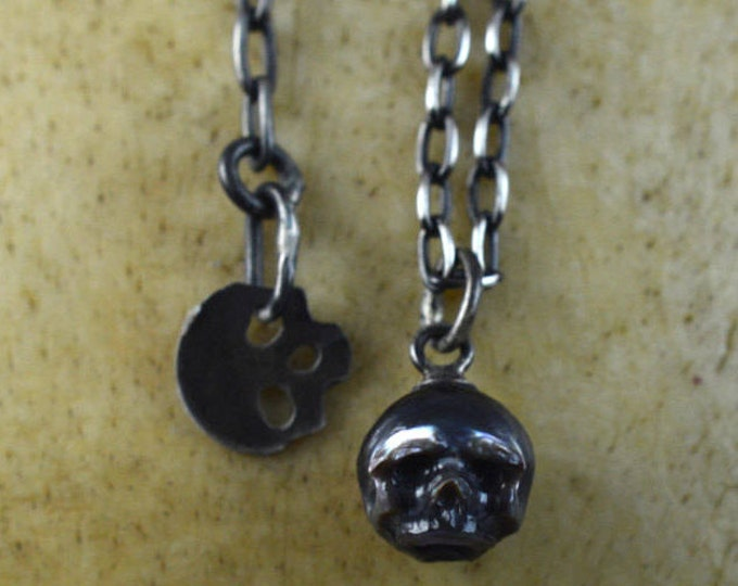 Featured listing image: Black Hand Carved Pearl Skull on Oxidized Sterling Silver Chain with Skull Charm - Adjustable Necklace - Holiday Jewelry