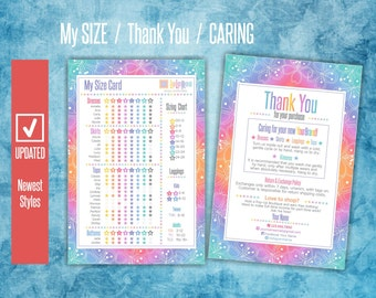 LLR My Size Card Newest Styles  Home Office Approved Fonts & Colors  Clothing Care  Thank You for Purchase  Rainbow Design  My Size Chart