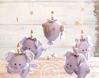 Light Purple Elephant Mobile, Baby Nursery Mobile /FREE FedEx SHIPPING WORLDWIDE/ Purple and Grey Nursery Decor/Baby Mobile/Elephant Nursery