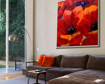 Oil on Canvas, Canvas Painting, Abstract Flowers Modern Wall Art, Floral Wall Art, Red Wall Art, Living Room Painting, Red Painting