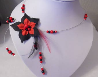 black silk flower wedding bridal necklace / beads Red Feather bridal wedding party evening bridesmaid