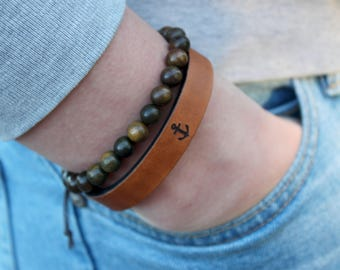 Leather bracelet-gift for men-personalized jewelry-customize-engraved- mens leather- gift for men- custom- boho-anchor