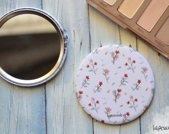 FLOWERS MIRROR,small mirror, pocket mirror, botanic illustration, botanic mirror, patterned mirror, hand mirror, 56mm mirror, round mirror