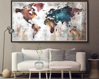World Map Long Decor Art,Large World Map,World Map Wall Art,World Map Push Pin,World Map Poster,World Map Art Print,World Map (165)