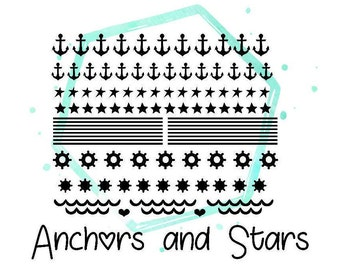 Anchors and Stars Vinyl Nail Stickers . Ships In 3-5 business days.