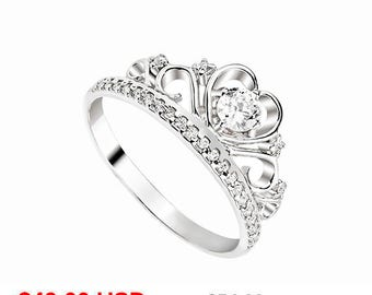 Tiara Ring Princess Crown Ring Princess Tiara Ring Princess Promise Ring for Her Crown Promise Ring Tiara Engagement Ring CZ Princess Ring