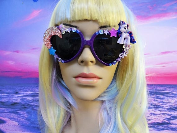UNICORN My Little Pony * Twilight Sparkle * Heart Shaped Sunglasses Sun Glasses Sunnies Rainbow Wayfarers Mermaid Kawaii Disney A054