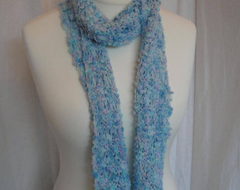aqua cotton mix scarf, vegan summer scarf, Mothers Day gift, open-knit tippet, lightweight scarf, pastel blue scarf, blue sparkle scarf