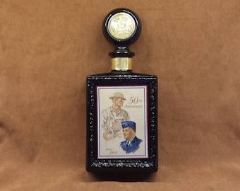 Vintage 1969 American Legion 50th Anniversary J. W. Dant Kentucky Bourbon Whiskey Bottle Cobalt Blue Bottle w Stopper 1919-1969 Commerative