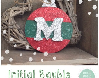Christmas Personalised Glitter Stripe Bauble by Duck Duck Goose
