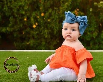 Denim Headwraps, Newborn Headwrap, Fabric Headwraps, Denim Head Wrap, Toddler Headwrap, baby headwrap, Girls Headwrap