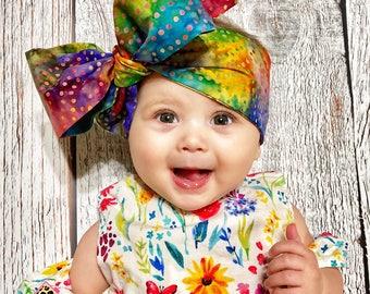 Watercolor Gold Dottie Headwraps, baby headwraps, fabric head wrap, newborn headwraps, toddler headwraps, baby headband, headwrad