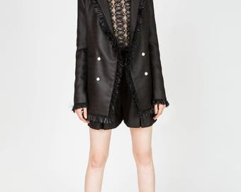 Clara Black Long Straight Blazer with Fringe Decorations by Other Theory, 18AW009