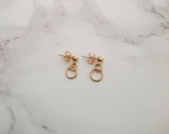 Gold Ball Earrings, Gold Circle Earrings, Silver Circle Earrings, Circle Stud Earrings, Geometric Stud Earrings, Gold O Earrings