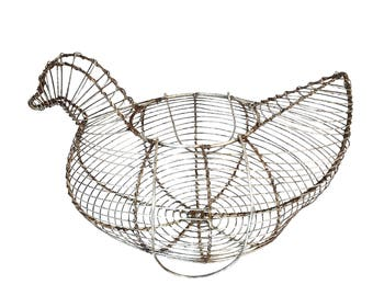 vintage french egg basket hen shaped