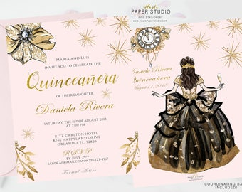 quinceanera invitation quinceanera invite blush gold quinceanera sweet 16 birthday princess invitation - Quinceanera Invites