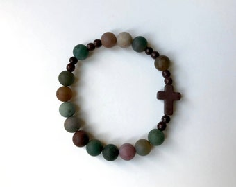 Indian Agate Rosary Beacelet