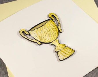3D Blank Quilled Trophy Congrats Card Congratulations Quilling Card