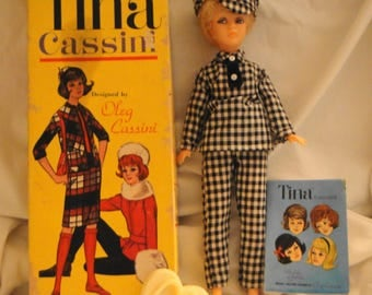 Vintage Tina Cassini Doll in Original Outfit with Box, Marked Stand, and Booklet