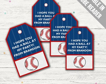 Baseball Party Favor Tags (Baseball Thank You Tags). Blue and Red. Printable PDF (EDITABLE). Instant Download.