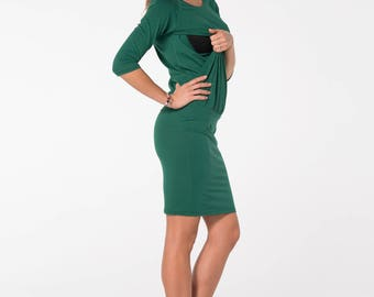 Nursing dress, Breastfeeding dress, Maternity clothes, Maternity dress, Maternity Gown, Dark green dress
