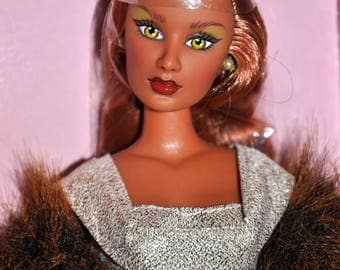 Mikelman Fabulous Fur Charise Gold Dusted Doll, Barbie Style Doll, Vintage Barbie Size Doll, Auburn 12Inch Doll, Collector Doll