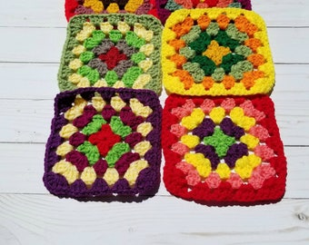 Crochet Coasters - Set of 6 - Granny Square - Drink Coaster - Cup Coaster - Coaster For Drinks - Teacher Gifts - Housewarming Gift