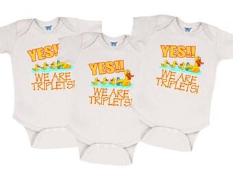Triplet onesies etsy we are triplets onesies negle Images