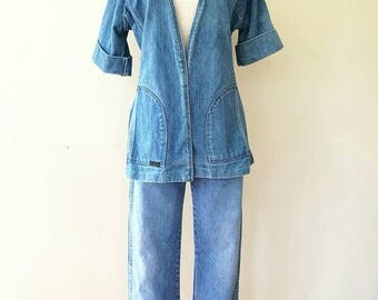 Vintage 1970s Wrangler  Sanforset short sleeve haori styled faded denim jacket