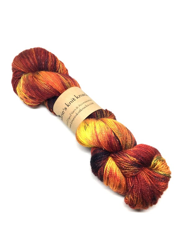 Hand Dyed Sparkle Yarn, Sock Yarn, Fingering Weight Yarn_West Texas Sunset (Warm)