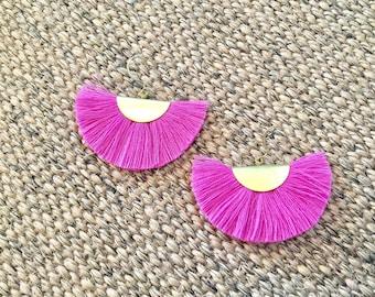 Fan earrings - pink & brass