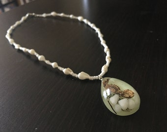 Seahorse Necklace, Shell Necklace, Glow in the Dark Jewelry, Seahorse Jewelry, Shell Jewelry, Nautical Necklace, Taxidermy Jewelry, Seahorse