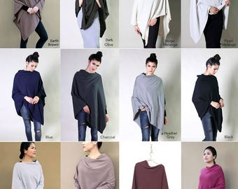 12 Colors- 100% Organic Cotton Wear It 5-Way Poncho Sweater Pullover. Soft Warm All Season. Eco-friendly Holiday Gift Ideas for Her