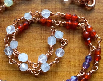 Goddess Energy Necklace - bright copper, crystals, precious gems, moonstones and herkimer diamond
