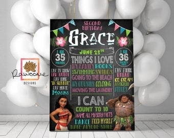 Moana Birthday Party - Milestones Chalkboard!  Great for any Age! CUSTOM DESIGNED!