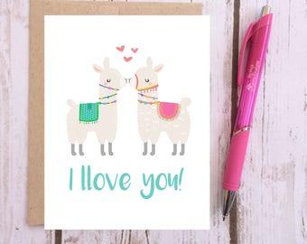 I Llove You - Llama Card - Cute Llama Gifts - Birthday Card - Love Card - Anniversary Card - Alpaca Card - Cards for Kids - I Love You Card