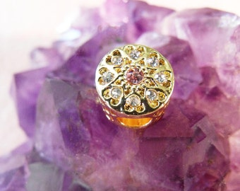 Gold Tone Pink And Clear Crystal European Charm Bead Large Hole Bead Crystal Accented Focal Bead Big Hole Focal Bead