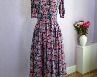 Laura Ashley Fit and Flare Floral Dress.  Made in UK Vintage Garden Party Dress