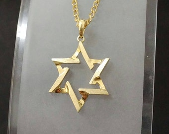 14k gold pendant star of david unique piece magen david pendant. men jewelry gold pendant