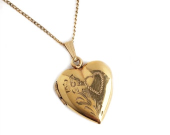 Vintage Heart Locket - 10k Yellow Gold Filled Flower 1940s Sweetheart Photo Pendant Jewelry