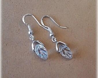 Sterling Silver Teardrop Dangle Earrings - White/Clear/Rainbow Leaf Pattern