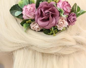 Blush Wedding Hair Comb, Bridal Comb, Floral Hair Comb Eucalyptus, Preserved Hair Comb, Mauve Wedding Comb, Hair Clip, Flower Hair Comb Leaf