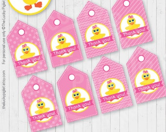 Rubber Duck Birthday Favor Tags Printable, Pink Rubber Duck Baby Shower Tags, Gift Tags | Instant Download, Non Editable Text, Print and Cut