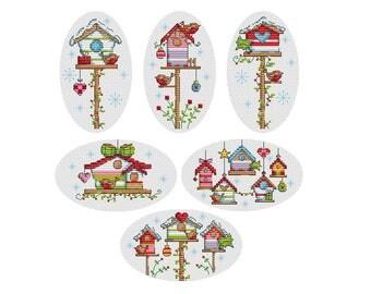 Winter Birdhouses - Set of 6 - Durene J Cross Stitch - DJXS2236