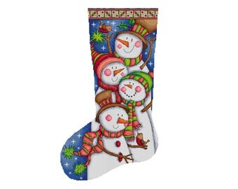 Snowman Stocking - Durene J Cross Stitch Pattern - DJXS2244