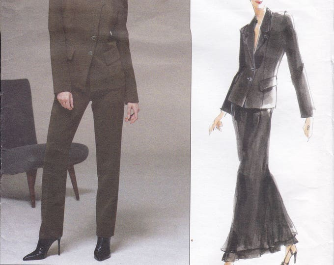Free Us Ship Vogue 2165 DKNY Jacket Pants Suit Pantsuit Skirt Layered  Retro 1990s 90's  Size 14 16 18 Bust 36 38 40 Sewing Pattern Uncut